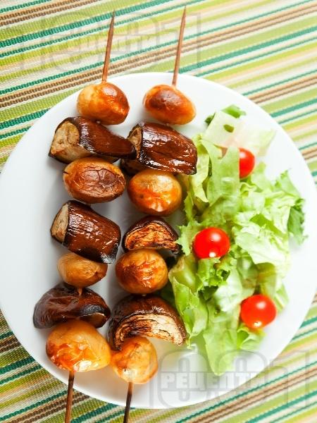 Шишчета с пресни картофи и патладжани - снимка на рецептата